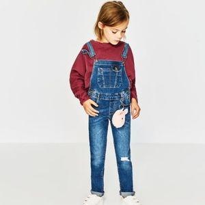 Zara girls denim skinny ripped overalls